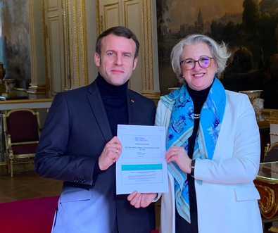 Anne Ravanona, Founder & CEO with President Emmanuel Macron of France, 2nd March 2020